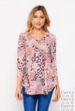 - Pink/Grey Animal Print 3/4 Sleeve Top w/V-Neck
