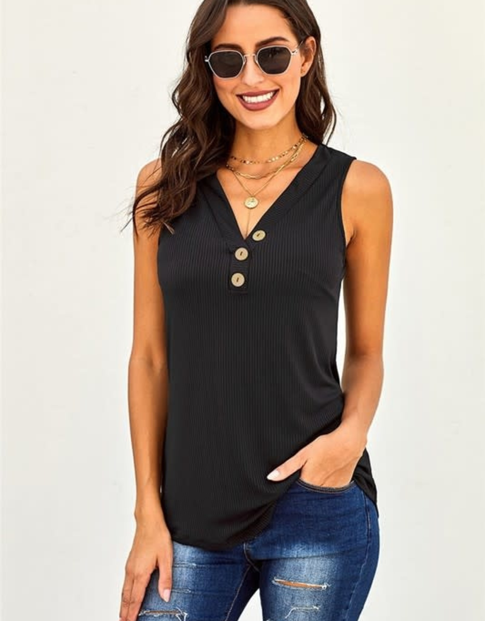 - Navy  Ribbed Tank w/ 3 Buttons