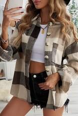 - Khaki Plaid Color Block Buttoned Jacket with Pocket