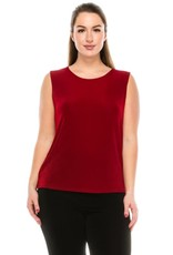 - Solid Red Acelate Tank Top