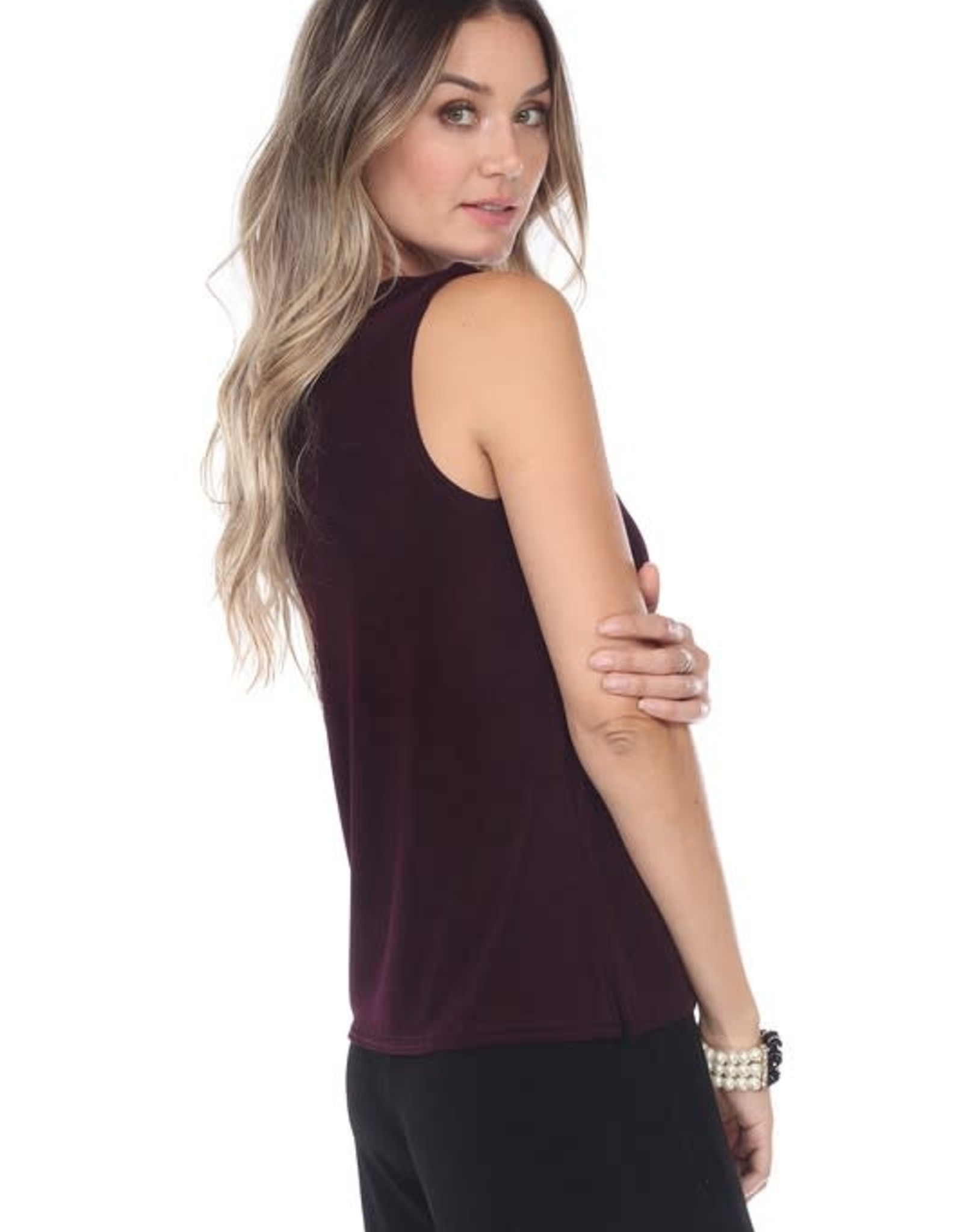 - Solid Egg Plant Acelate Tank Top
