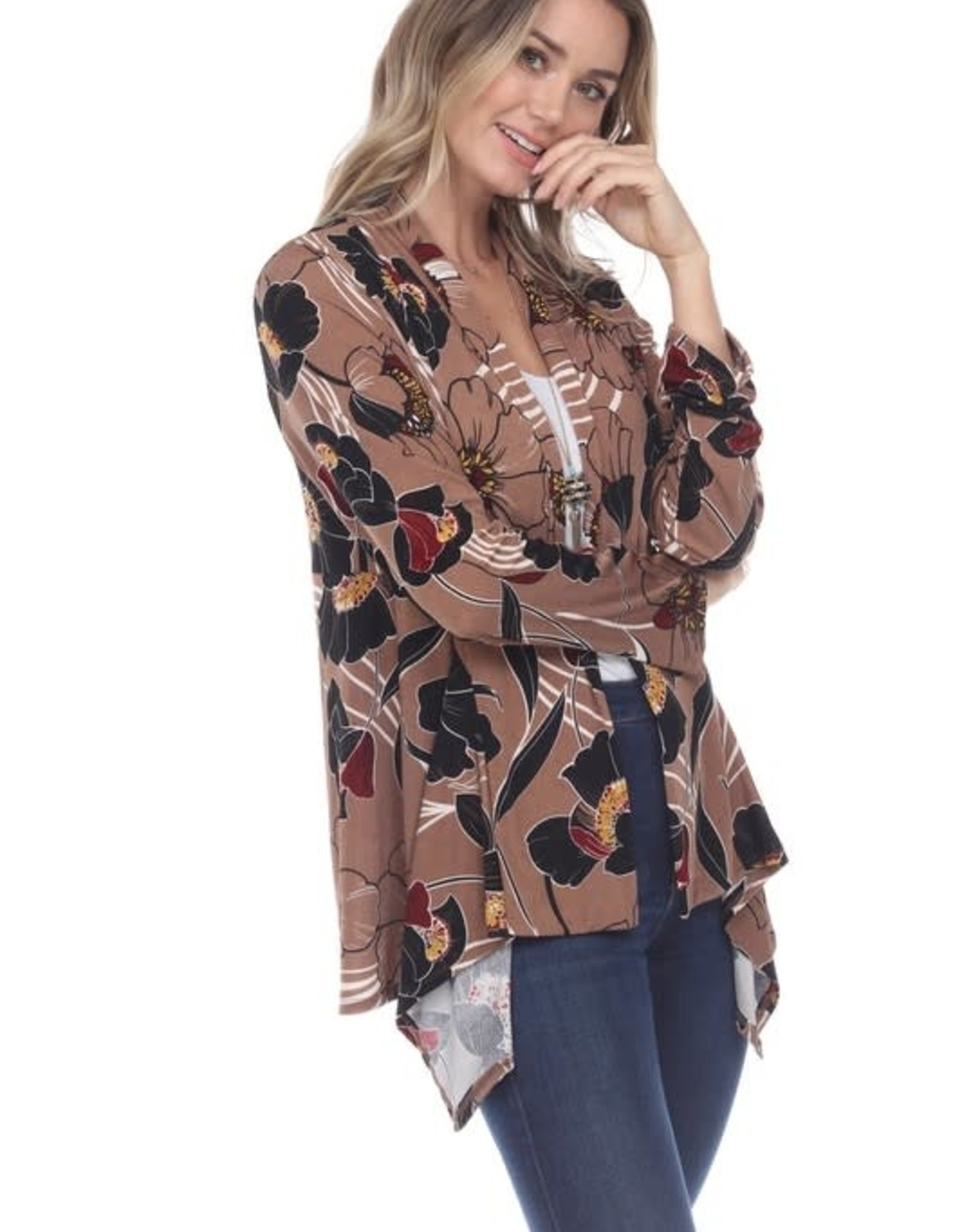 - Taupe Floral Print Mid Cut Cardigan