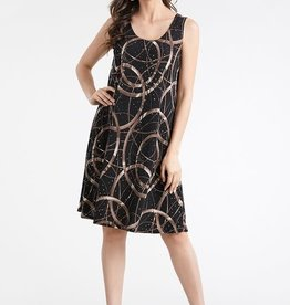 - Black/Brown Circle Print Glitter Tank Swing Dress