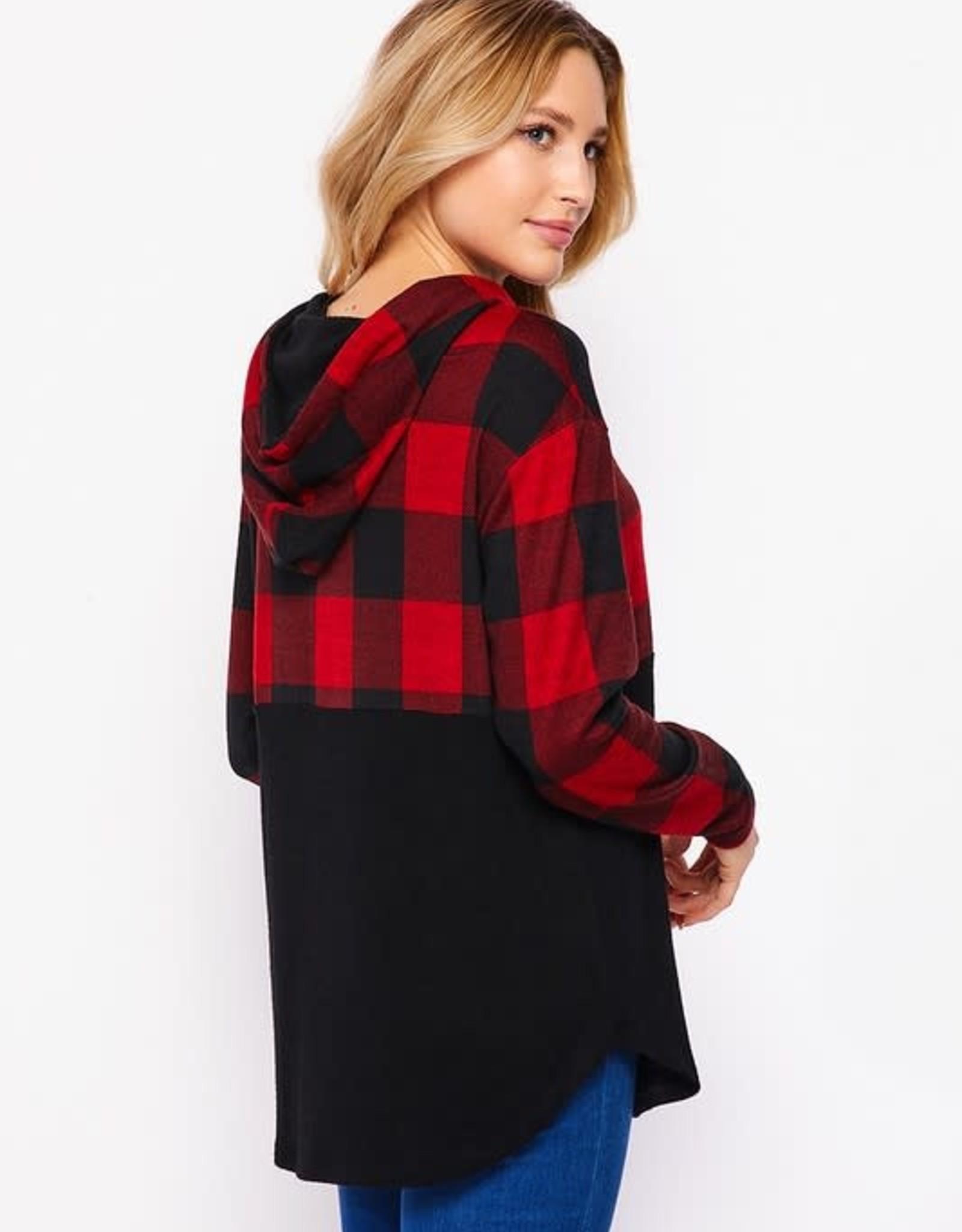 - Red/Black Buffalo Check Long Sleeve Plaid Hoodie