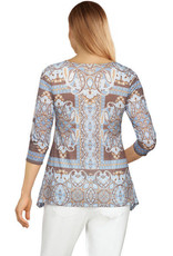 - Coffee Embellished Kaleidoscope Paisley Printed Top