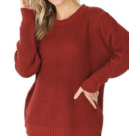 - Fried Brick Hi-Low Long Sleeve Round Neck Waffle Sweater