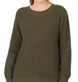 - Dark Olive Hi-Low Long Sleeve Round Neck Waffle Sweater