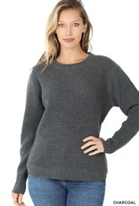 - Charcoal Hi-Low Long Sleeve Round Neck Waffle Sweater