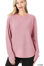 - Light Rose Hi-Low Long Sleeve Round Neck Sweater