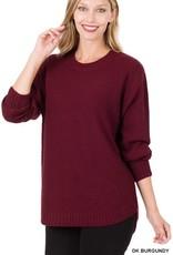 - Dark Burgundy Hi-Low Long Sleeve Round Neck Sweater