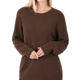 - Americano Brown Hi-Low Long Sleeve Round Neck Sweater