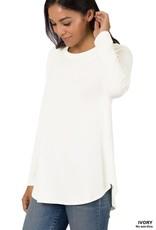 - Ivory Scoop Hem Long Sleeve Top w/Roundneck
