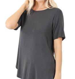 - Ash Grey Roundneck Short Sleeve Top w/Hi-Low Hem