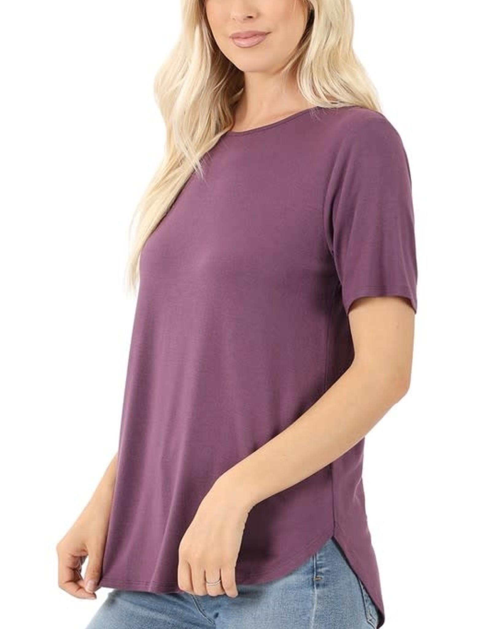 - Eggplant Roundneck Short Sleeve Top w/Hi-Low Hem