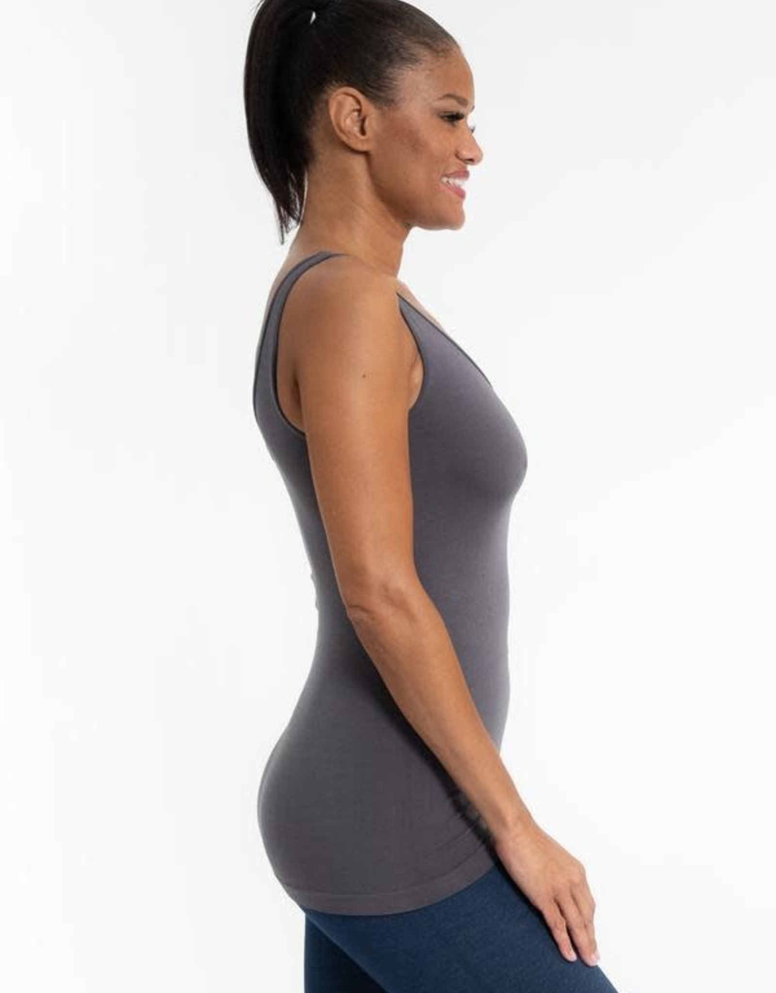 - Charcoal RELAXED Reversible Neckline Tank