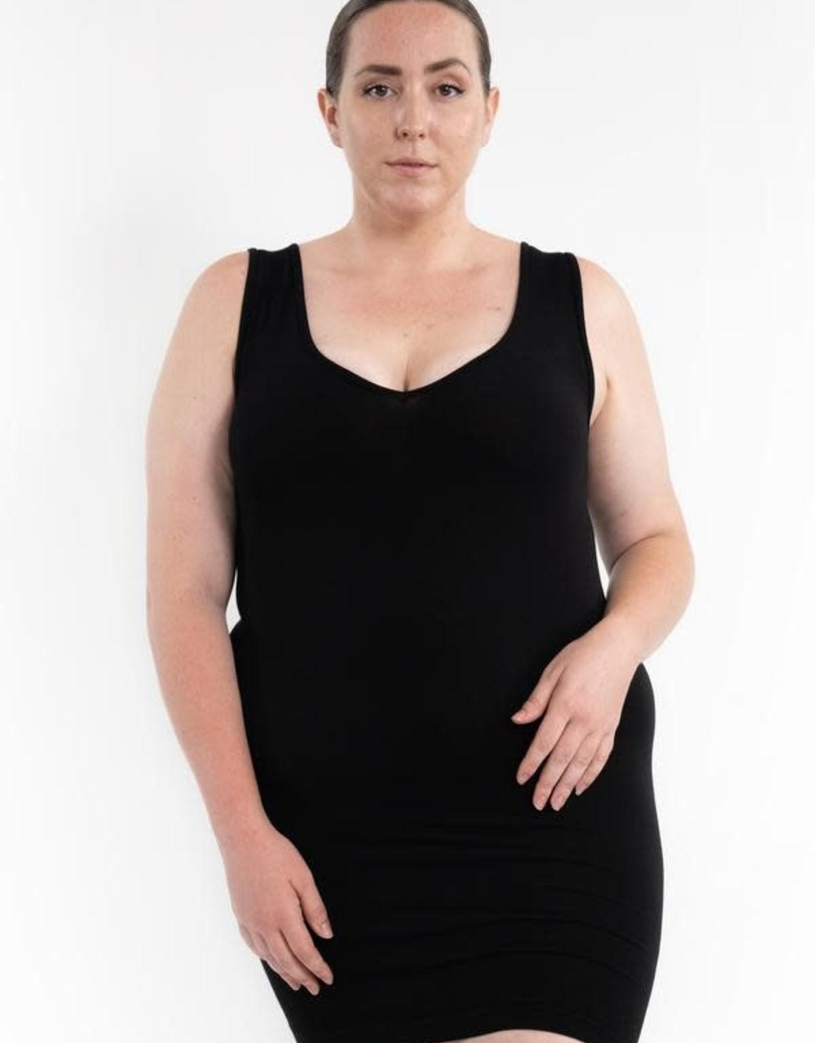 - Black RELAXED FIT Reversible Neckline Dress Length Tank