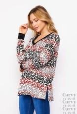 - Red/Grey/Black Animal Print Long Sleeve Top