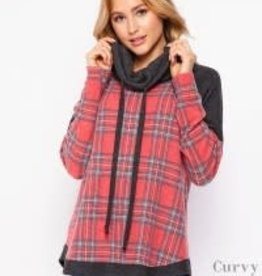 - Red Plaid Long Sleeve Top w/Charcoal Cowl Neck