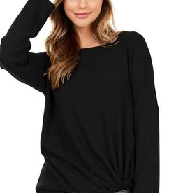 - Black Waffle Knit Long Sleeve Top w/Front Knot