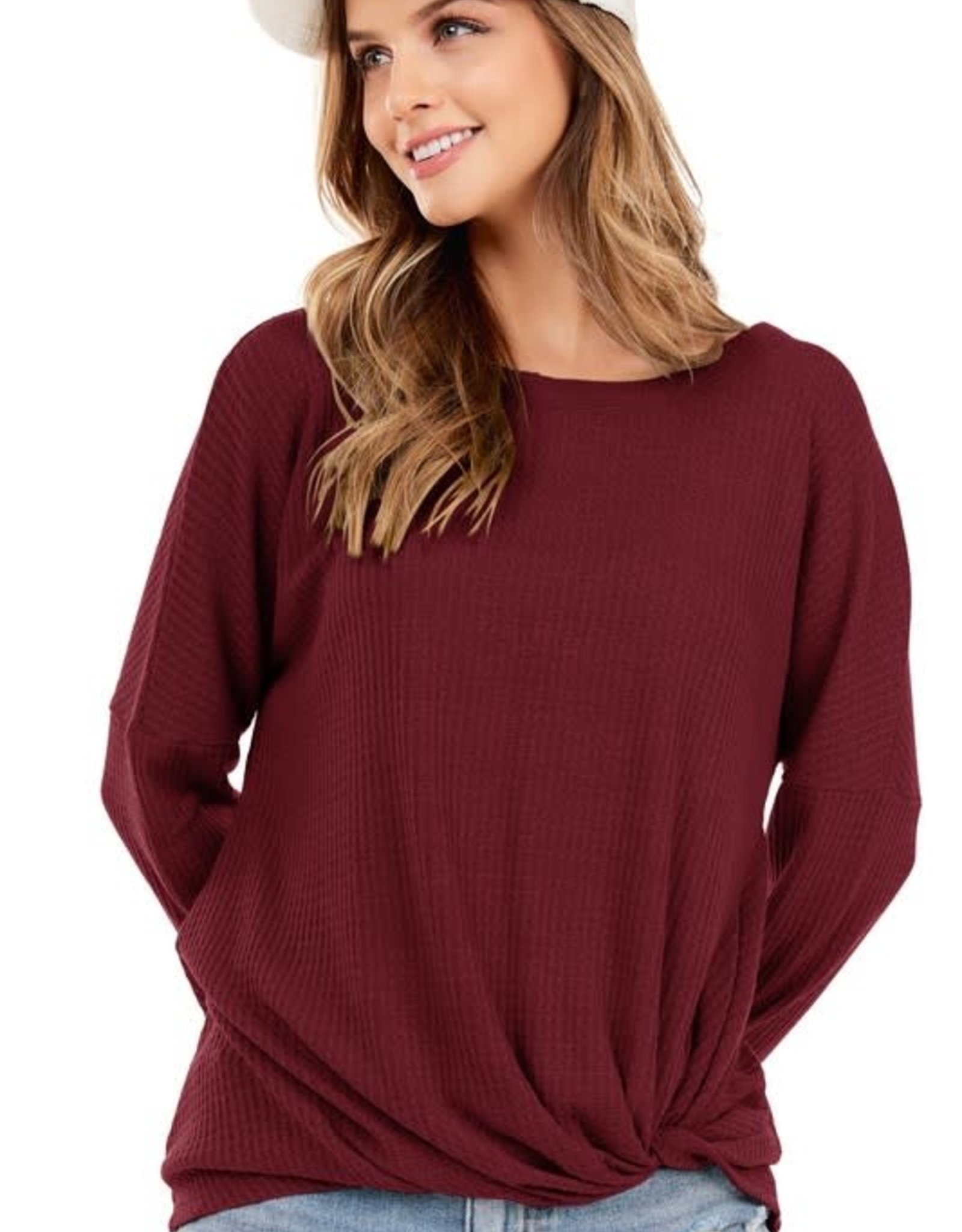 - Burgundy Waffle Knit Long Sleeve Top w/Front Knot