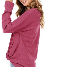 - Light Wine Waffle Knit Long Sleeve Top w/Front Knot