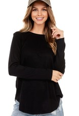 - Black Cashmere Feel Long Sleeve Top w/Scoop Hem