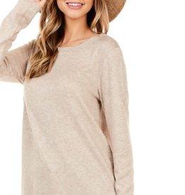 - Oatmeal Cashmere Feel Long Sleeve Top w/Scoop Hem
