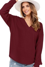 - Burgundy Waffle Knit V-Neck Long Sleeve Top