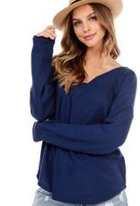 - Navy Waffle Knit V-Neck Long Sleeve Top