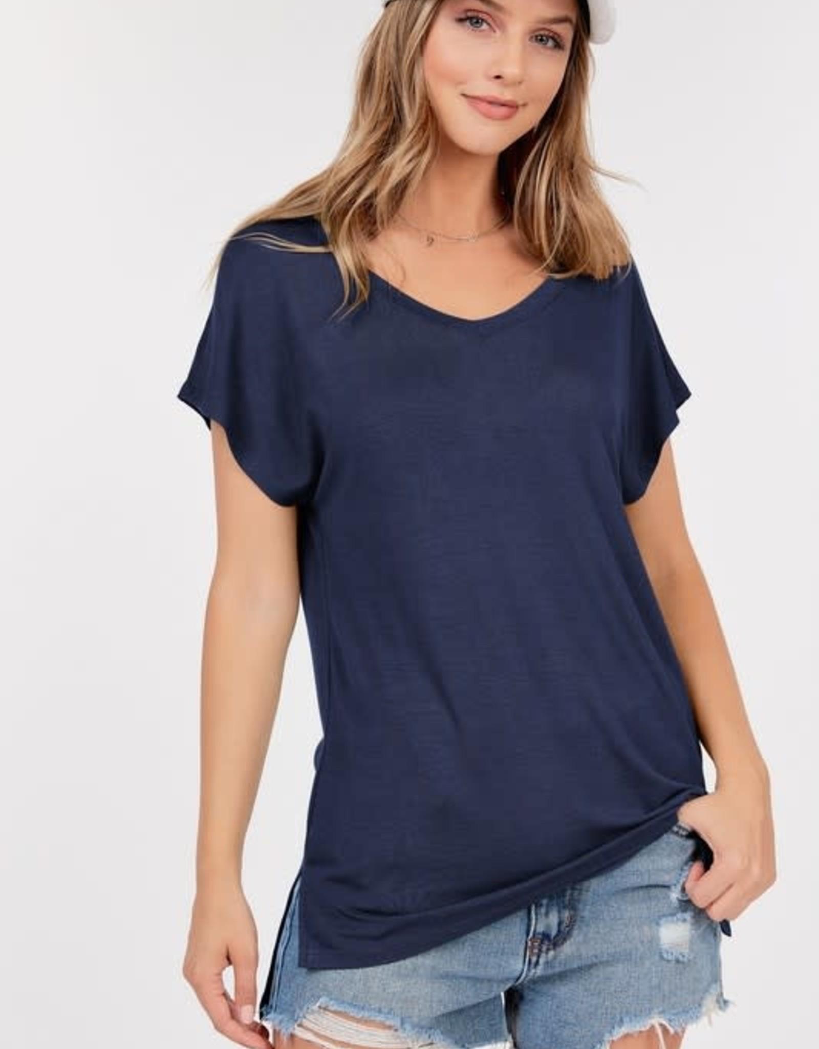 - Navy Basic Short Sleeve V-Neck Top W/Side Slits
