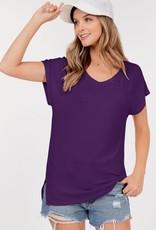 - Plum Basic Short Sleeve V-Neck Top W/Side Slits
