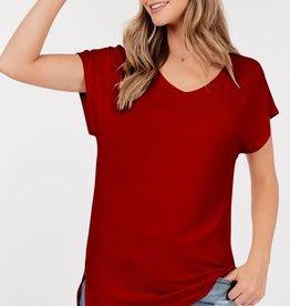 - Red Basic Short Sleeve V-Neck Top W/Side Slits