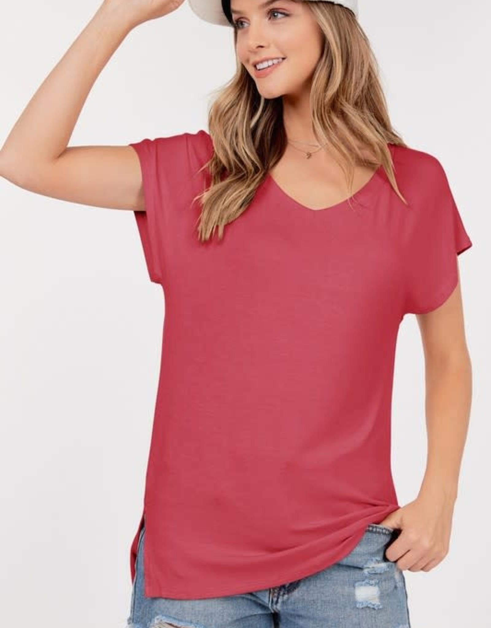 - Rose Basic Short Sleeve V-Neck Top W/Side Slits
