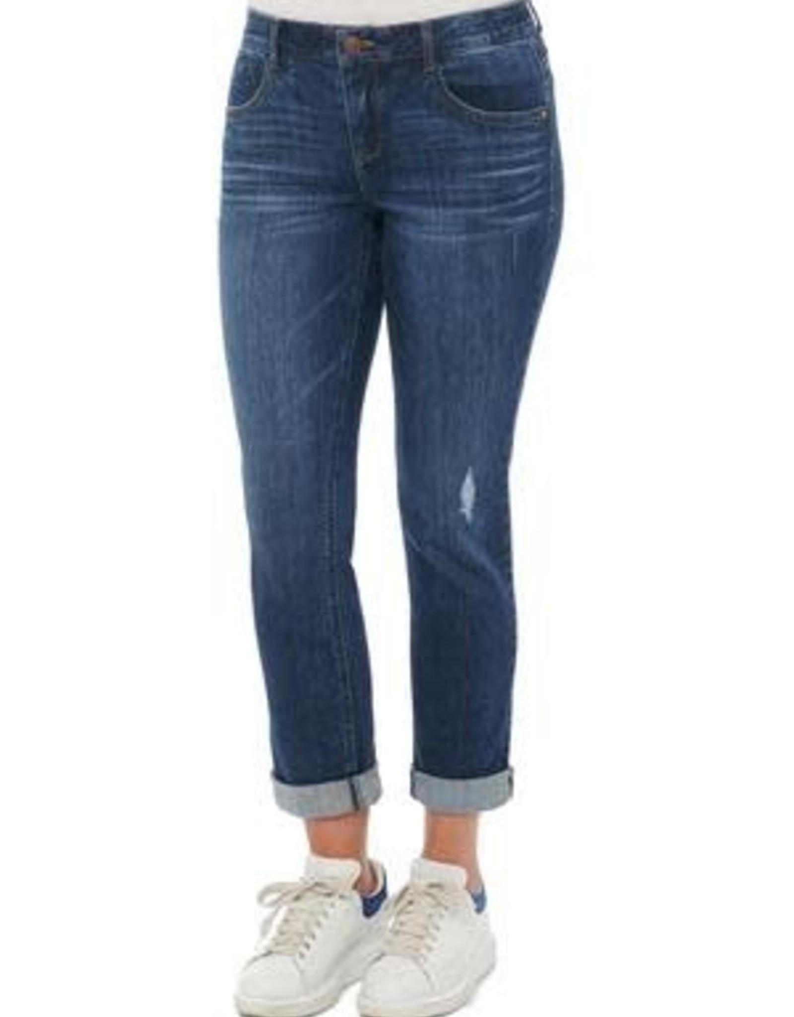 Democracy Medium Wash Cuffed Distressed Girlfriend Jeans