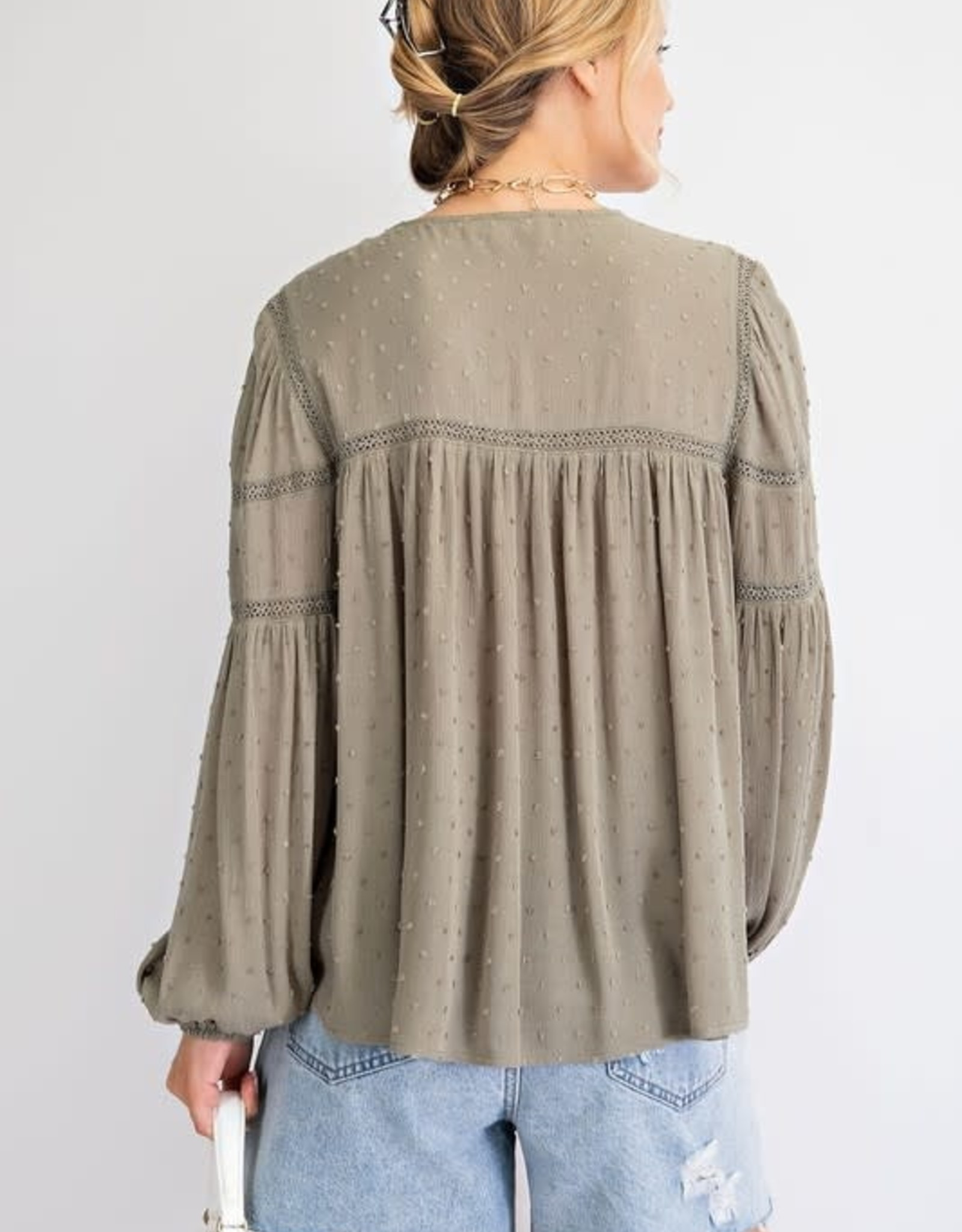 - Faded Olive Long Sleeve Pompom Gauze Babydoll Top