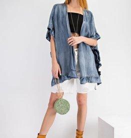 - Washed Denim Open Ruffled Kimono Cardigan