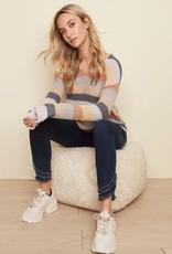 - Multi Color Striped Long Sleeve V-Neck Sweater