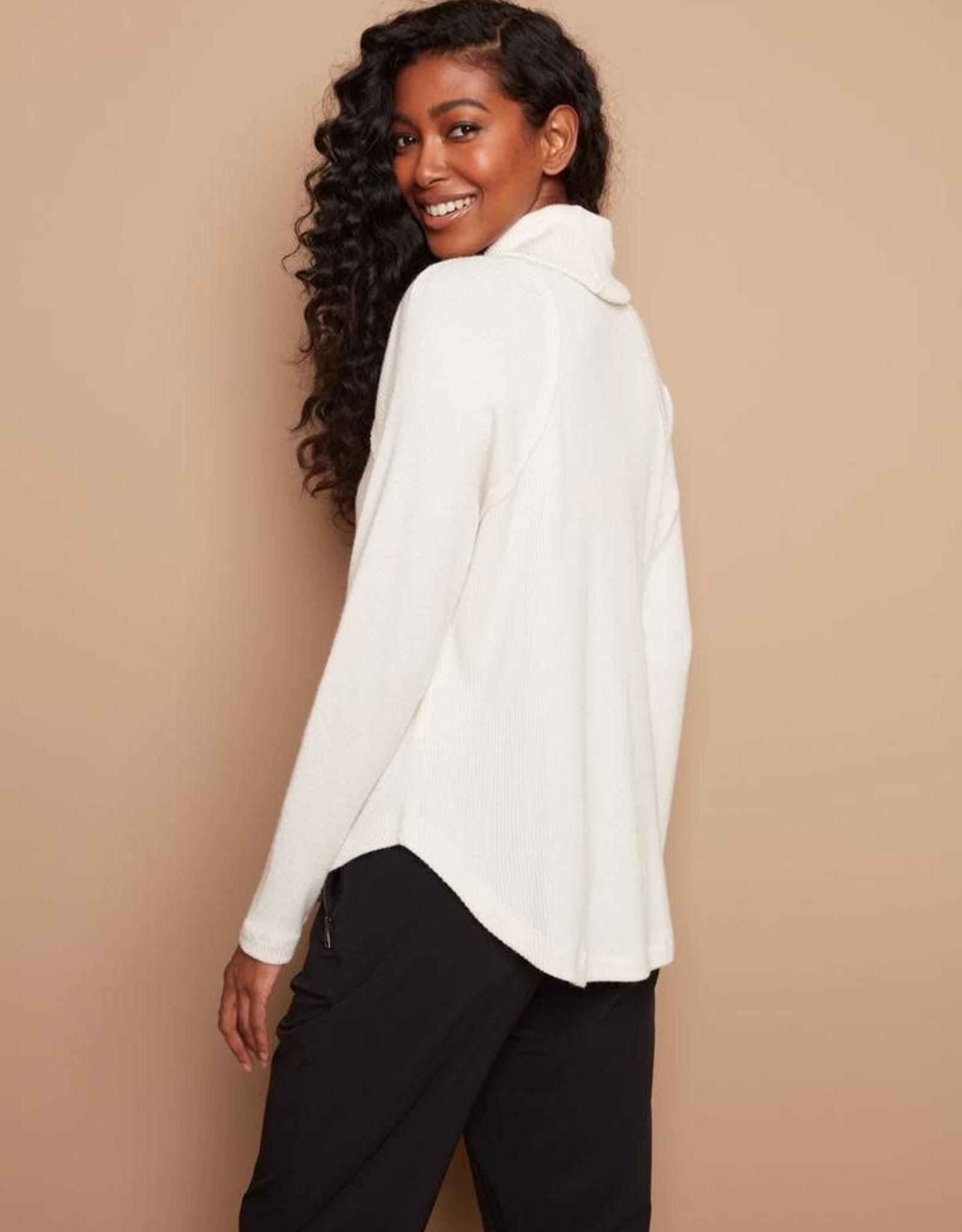 - Cream Long Sleeve Soft Rib Cowl Neck Top