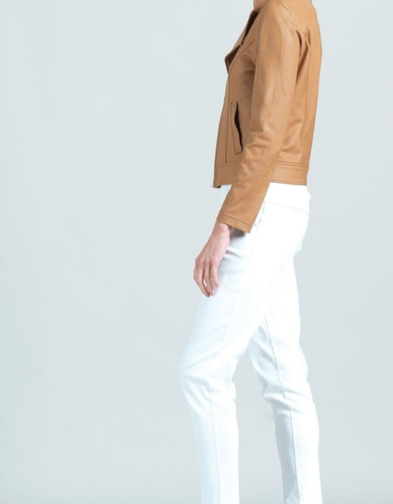 - Camel Liquid Leather Jacket Double Zip w/Pockets