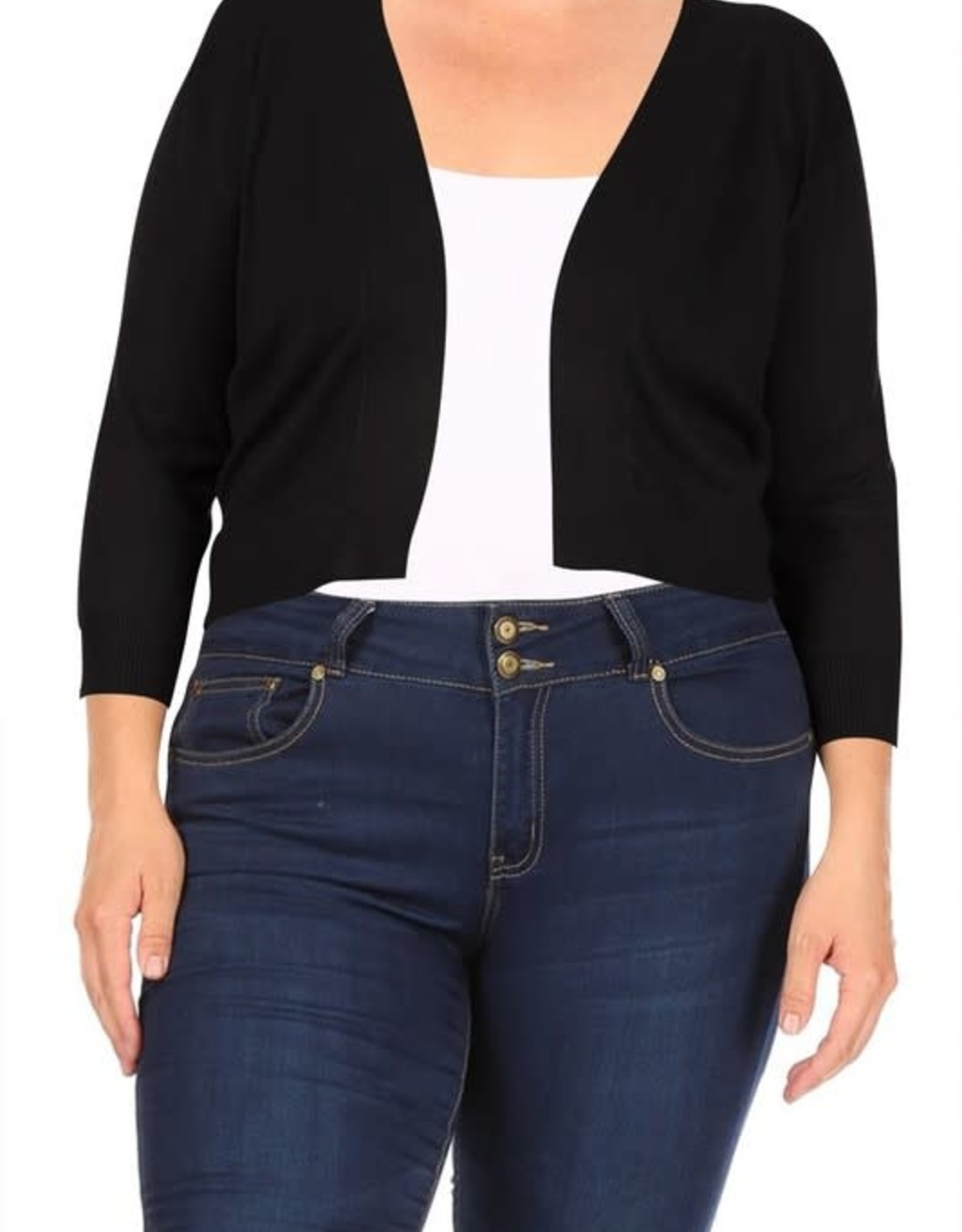 - Black Open Bolero Cropped Cardigan