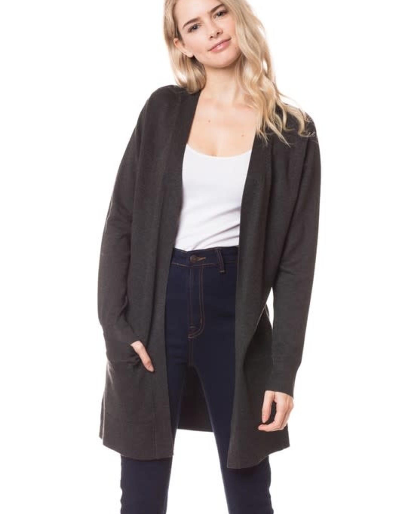 - Charcoal Grey Open Long Knit Cardigan w/Pockets