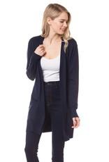- Navy Open Long Knit Cardigan w/Pockets