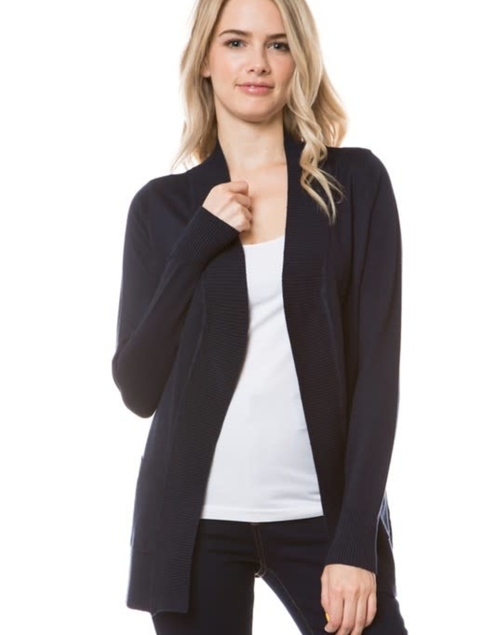 - Navy Open Knit Ribbed Trim Cardigan w/Pockets