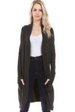 - Charcoal Grey Open Long Knit Ribbed Trim Cardigan w/Pockets