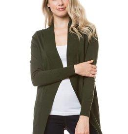 - Charcoal Grey Open Knit Ribbed Trim Cardigan w/Pockets