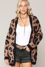 - Mocha Leopard Print w/ Black Fuzzy Trim