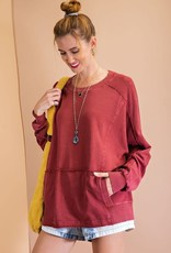 - Wine Long Sleeve Mineral Washed Terry
