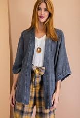 - Ash Mineral Washed Open Kimono