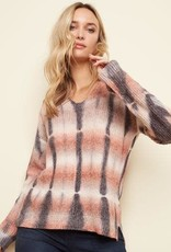 - Denim Tie Dye V-Neck Sweater