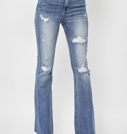 - Light Wash High Rise Distressed Flare